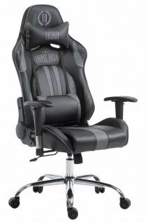 Chefsessel 150kg belastbar schwarz grau Kunstleder Bürostuhl Zocker Gamer Gaming