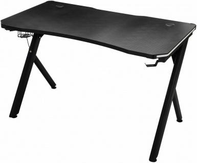 Gaming Tisch schwarz Schreibtisch Computertisch LED Carbon-Optik Gamer Zocker