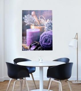 LED-Wandbild Kerze lila 1 Lämpchen Leinwand massivholz-Gestell Wanddeko design - Vorschau 2