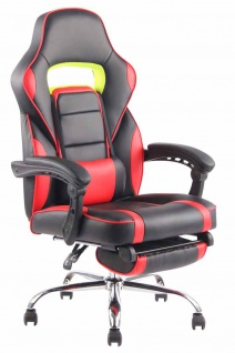 Bürostuhl 136kg belastbar schwarz rot Kunstleder Chefsessel Fußablage Stütze