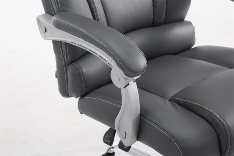 XXL Bürostuhl bis 150kg belastbar grau Kunstleder Chefsessel Fußablage Drehstuhl - Vorschau 5