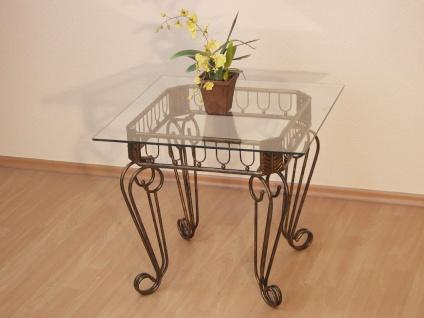 Beistelltisch Tisch Couchtisch Beitisch antik eisen braun goldfarben Glas modern