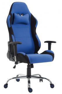 XL Bürostuhl 136 kg belastbar Stoff schwarz blau Chefsessel Gamer Zocker robust