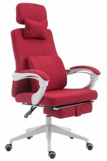 Bürostuhl 136kg belastbar rot Stoff Chefsessel Drehstuhl Fußablage Zocker Gamer