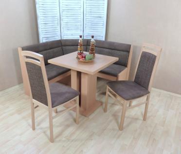 Truheneckbankgruppe Buche natur schoko Essgruppe 2 x Stühle Esstisch modern neu