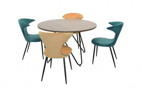 Essgruppe 5-tlg grün/ocker Esstisch rund 4x Stühle Stuhlset Tischgruppe modern