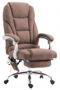 XXL Bürostuhl 150 kg belastbar braun Stoffbezug Chefsessel Massagefunktion