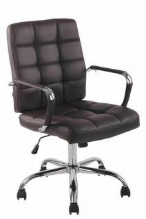 Bürostuhl bis 120 kg belastbar Kunstleder braun Drehstuhl modern design stabil