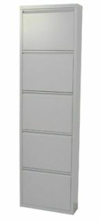 Metall-Schuhschrank grau 5 Klappen Schuhkipper Schuhregal modern design NEU