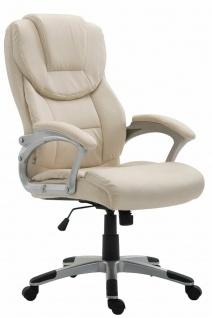 XL Bürostuhl 180kg belastbar creme Kunstleder Chefsessel Computerstuhl Drehstuhl