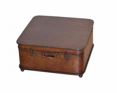 Couchtisch Koffer Metall Beistelltisch Vintage used look design antik braun