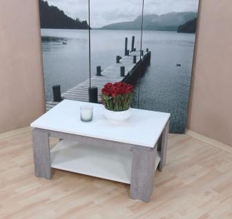 Couchtisch weiß beton silber zweifarbig Sofatisch modern design edel günstig neu