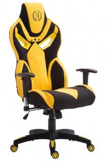 XL Bürostuhl 150 kg belastbar schwarz gelb Stoffbezug Chefsessel hochwertig neu