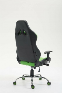 XL Bürostuhl 136 kg belastbar Kunstleder schwarz/grün Chefsessel Gamer Zocker - Vorschau 4