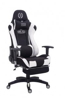 Bürostuhl 150 belastbar schwarz weiß Stoffbezug Chefsessel Fußstütze Gamer - Vorschau 1