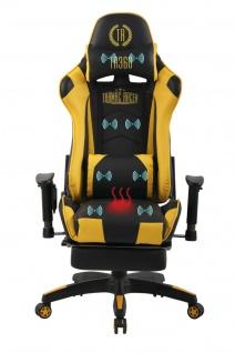 Bürostuhl gelb Chefsessel Wärme- und Massagefunktion Gaming Gamer Zockersessel