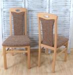 2 x Esszimmerstühle massivholz Buche natur Cappuccino Polster Stuhlset 2er Set