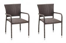 2 x Stuhl Stühle Gartenstuhl Rattanstuhl Rattan 2er set wetterfest mocca outdoor