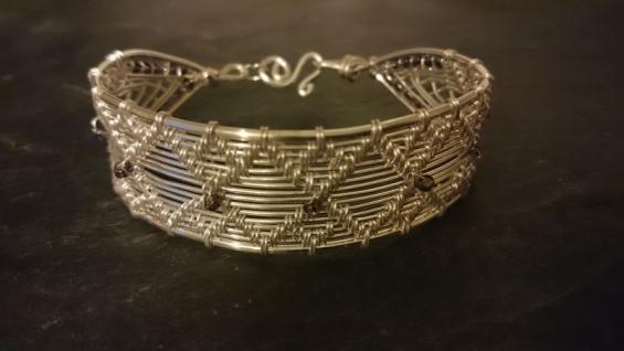 EinziK-Art Armband 925 versilbert Draht handgewebt