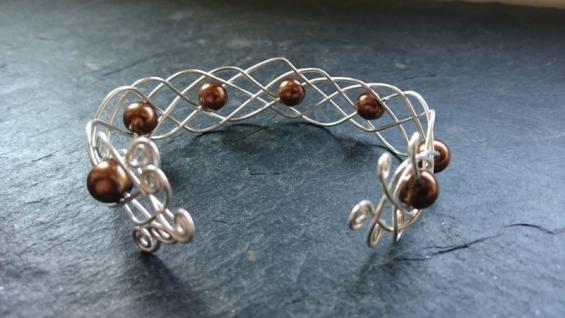 EinziK-Art Geflochtener Armreif braune Perlen 925 Silber - Vorschau 3