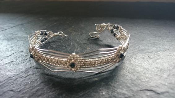 EinziK-Art Armband 925 Silber Draht blau metallic