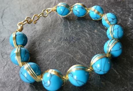 EinziK-Art Armband Türkis 24kt vergoldet - Vorschau 2