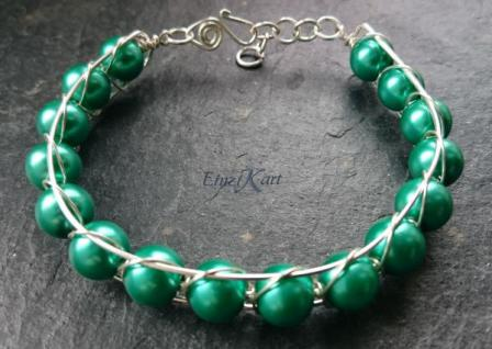 EinziK-Art Armband waves grün 925 versilbert