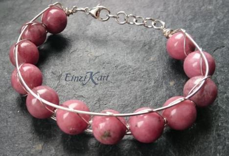 EinziK-Art Armband Rhodonit 925 versilbert - Vorschau 2