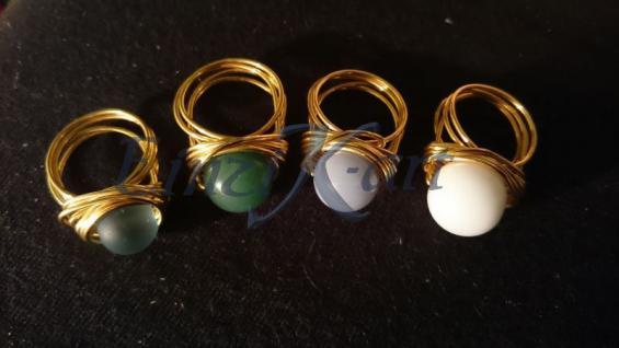 EinziK-Art Draht-Ring mit Wunschperle 24Karat vergoldet