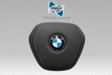 "1x Neu Original AirBag Lenkrad Schwarzes Leder mit grauem Faden BMW 5' G30 G31 7"" G11 G12"