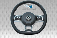 1x Neu Original Leder Lenkrad Multifunktion DSG R-Line mit AairBAg mit weißem Faden VW Tiguan Golf 7 VII Passat Touran Arteon 2G0419091