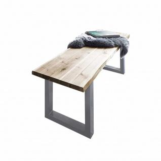 Sitzbank Baumkante 140 cm natur massiv Akazie silber ANNI