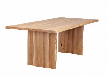 Baumkantentisch Esstisch Wildeiche 200 x 100 cm Holzgestell JULIAN