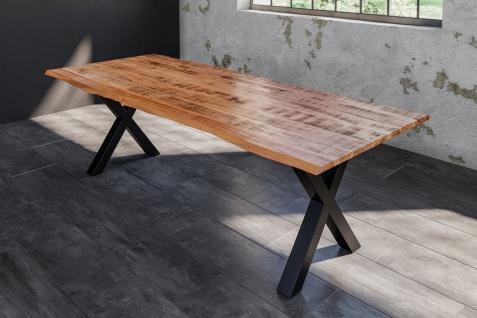 Baumkantentisch Esstisch Mangoholz massiv X-Gestell schwarz 200 x 100 cm DORA