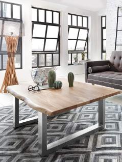 Couchtisch Baumkante 120 x 80 cm Akazie naturfarben silber