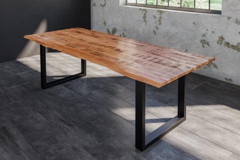 Baumkantentisch Esstisch Mangoholz massiv U-Gestell schwarz 200 x 100 cm DORA