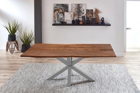 Esstisch Baumkante Akazie Nussbaum 200 x 100 cm silber QUINCY