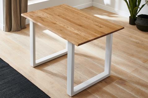 Baumkantentisch Esstisch Wildeiche 120 x 80 cm weiß SERRA
