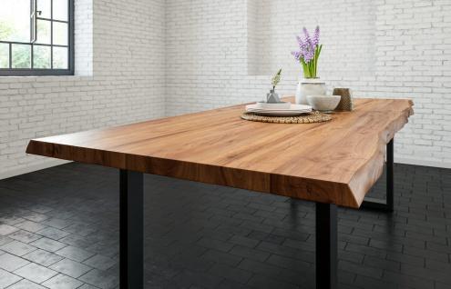 Esstisch Baumkante massiv Akazie natur 260 x 100 schwarz LIAM