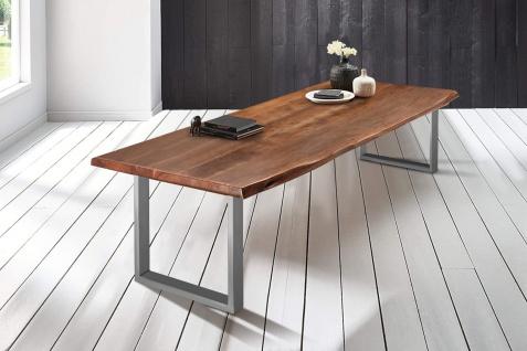 Baumkantentisch Esstisch Akazie Nussbaum 240 x 110 cm silber Valin