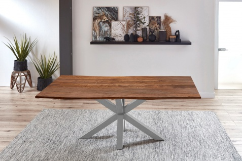 Esstisch Baumkante Akazie Nussbaum 220 x 100 cm silber QUINCY