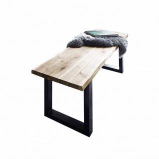Sitzbank Baumkante 140 cm natur massiv Akazie schwarz ANNI
