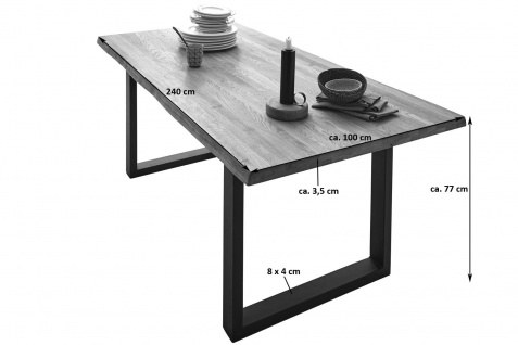 Baumkantentisch Esstisch Wildeiche 240 x 100 cm silber RICHARD - Vorschau 3