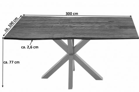 Esstisch Baumkante Akazie Nussbaum 300 x 100 cm silber QUINCY - Vorschau 3
