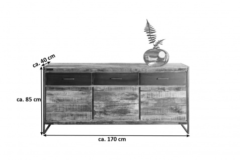 Sideboard Kommode Mangoholz massiv 170 x 85 x 40 cm ARTA 1 by Wolf Möbel - Vorschau 2