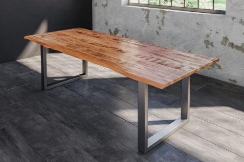 Baumkantentisch Esstisch Mangoholz massiv U-Gestell silber 200 x 100 cm DORA