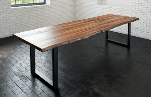 Esstisch Baumkante massiv Akazie nussbaum 300 x 100 schwarz LIAM - Vorschau 3