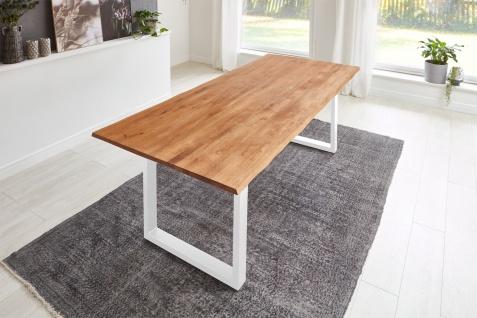 Baumkantentisch Esstisch Wildeiche 220 x 100 cm weiß SERRA