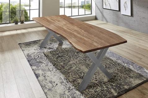 Esstisch Baumkante massiv Akazie natur 260 x 100 silber XAVER