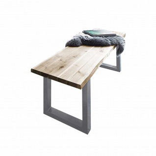 Sitzbank Baumkante 200 cm natur massiv Akazie silber ANNI